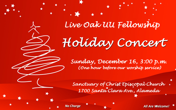 Holiday concert on Sunday, Dec. 16, 3:00 p.m. Free